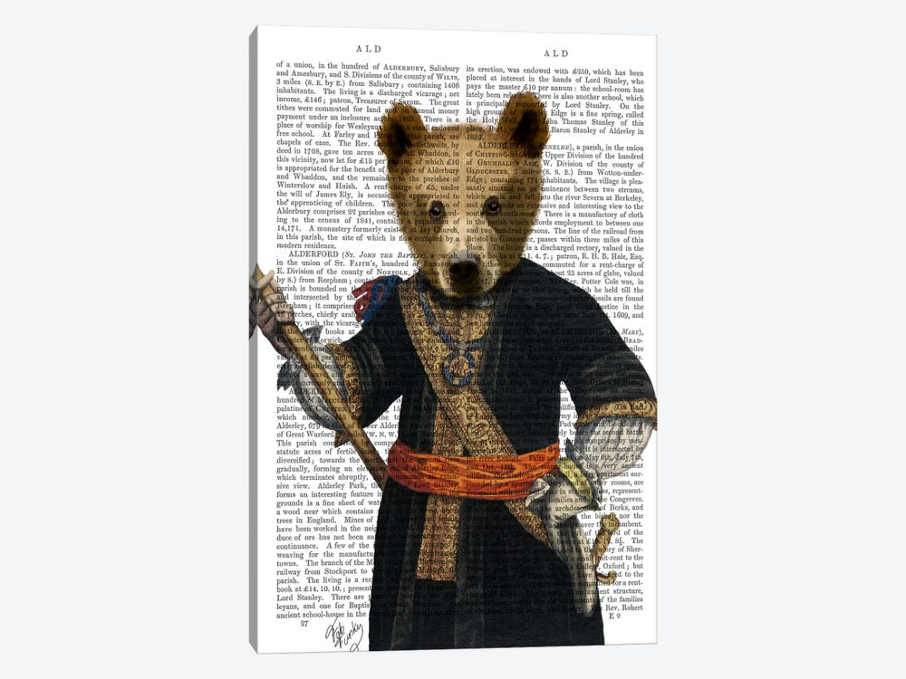 Bear In Blue Robes by Fab Funky 1-piece Art Print