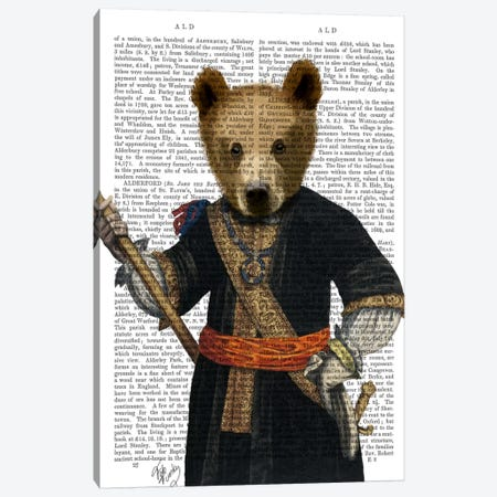 Bear In Blue Robes Canvas Print #FNK903} by Fab Funky Canvas Print