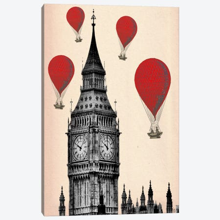 Big Ben & Red Hot Air Balloons Canvas Print #FNK904} by Fab Funky Canvas Art