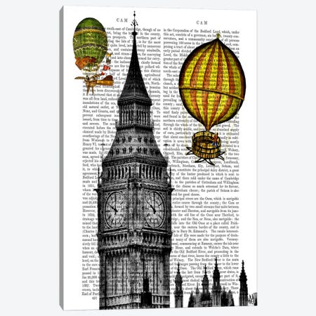 Big Ben & Vintage Hot Air Balloons Canvas Print #FNK905} by Fab Funky Canvas Artwork