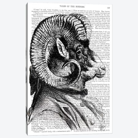 Bighorn Sheep In Suit Canvas Print #FNK906} by Fab Funky Canvas Wall Art