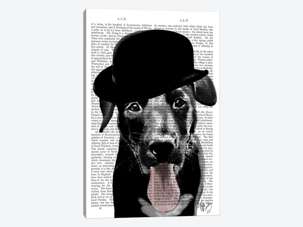 Black Labrador In Bowler Hat by Fab Funky 1-piece Canvas Art Print