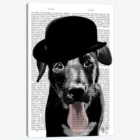 Black Labrador In Bowler Hat Canvas Print #FNK907} by Fab Funky Canvas Wall Art