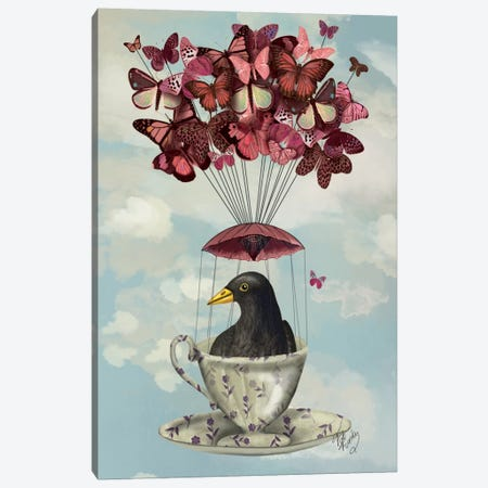 Blackbird In Teacup Canvas Print #FNK909} by Fab Funky Art Print