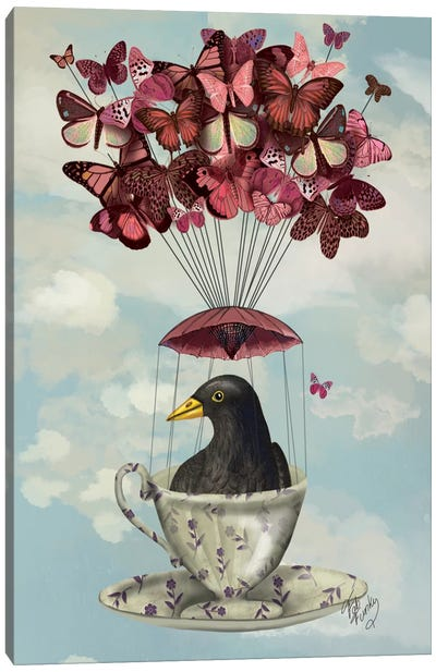 Blackbird In Teacup Canvas Art Print