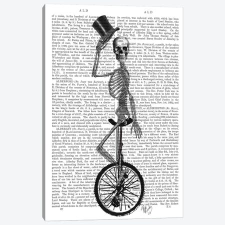 Skeleton On Unicycle Canvas Print #FNK90} by Fab Funky Canvas Artwork