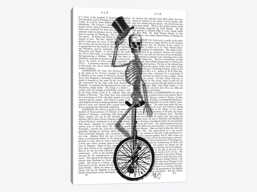 Skeleton On Unicycle by Fab Funky 1-piece Canvas Art Print