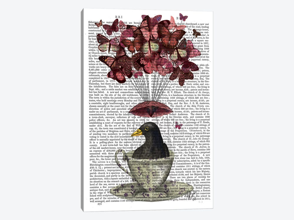 Blackbird In Teacup, Print BG by Fab Funky 1-piece Art Print