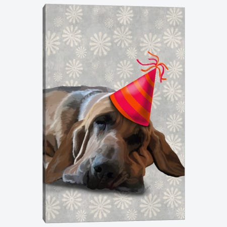 Bloodhound After The Party Canvas Print #FNK911} by Fab Funky Canvas Wall Art