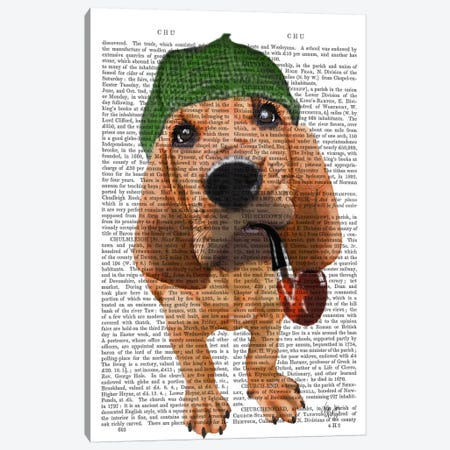 Bloodhound Sherlock Holmes II Canvas Print #FNK913} by Fab Funky Canvas Artwork