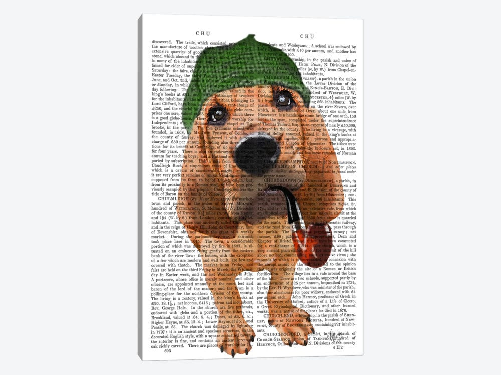 Bloodhound Sherlock Holmes by Fab Funky 1-piece Canvas Art