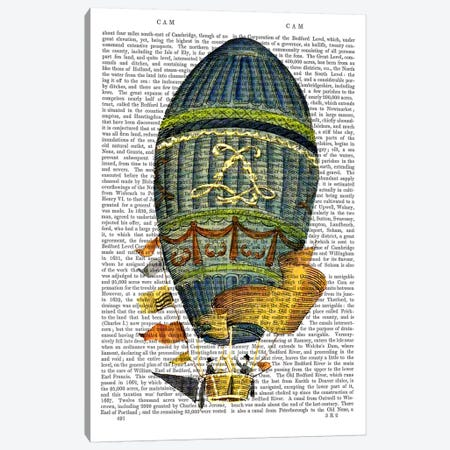 Blue Cylindrical Hot Air Balloon 3-Piece Canvas #FNK917} by Fab Funky Canvas Print