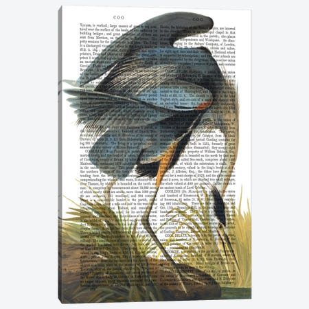 Blue Heron I 3-Piece Canvas #FNK919} by Fab Funky Canvas Art