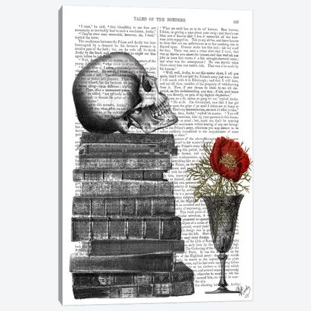 Skull And Books Canvas Print #FNK91} by Fab Funky Canvas Wall Art