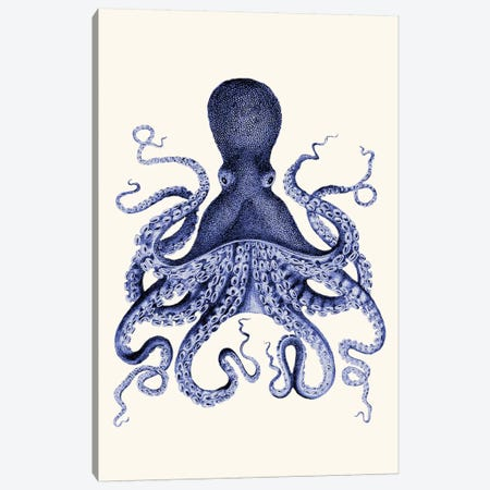 Blue Octopus I Canvas Print #FNK922} by Fab Funky Canvas Print