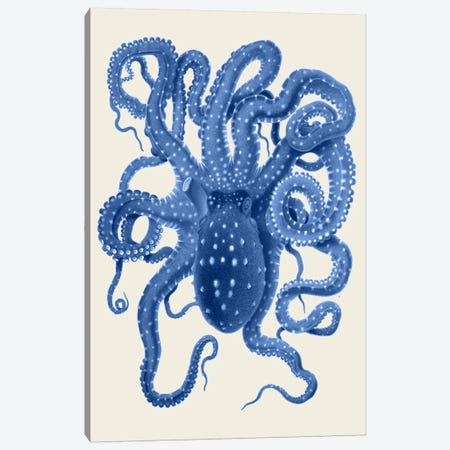 Blue Octopus On Cream I Canvas Print #FNK925} by Fab Funky Canvas Wall Art