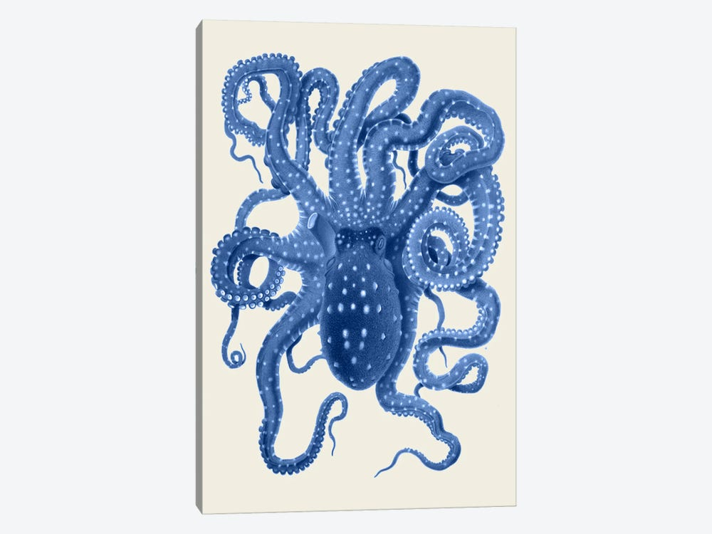 Blue Octopus On Cream I by Fab Funky 1-piece Art Print