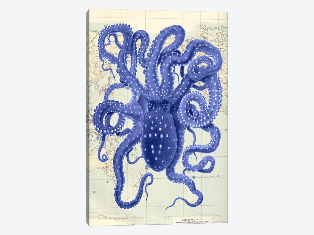 Blue Octopus On Nautical Map II by Fab Funky 1-piece Art Print