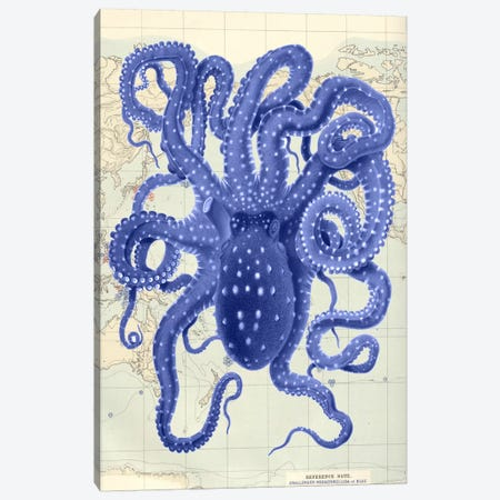 Blue Octopus On Nautical Map II 3-Piece Canvas #FNK927} by Fab Funky Canvas Art