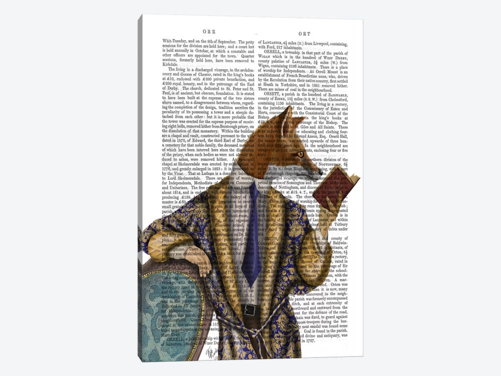 Book Reader Fox by Fab Funky 1-piece Canvas Artwork