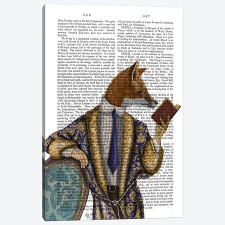 Book Reader Fox 3-Piece Canvas #FNK928} by Fab Funky Canvas Print