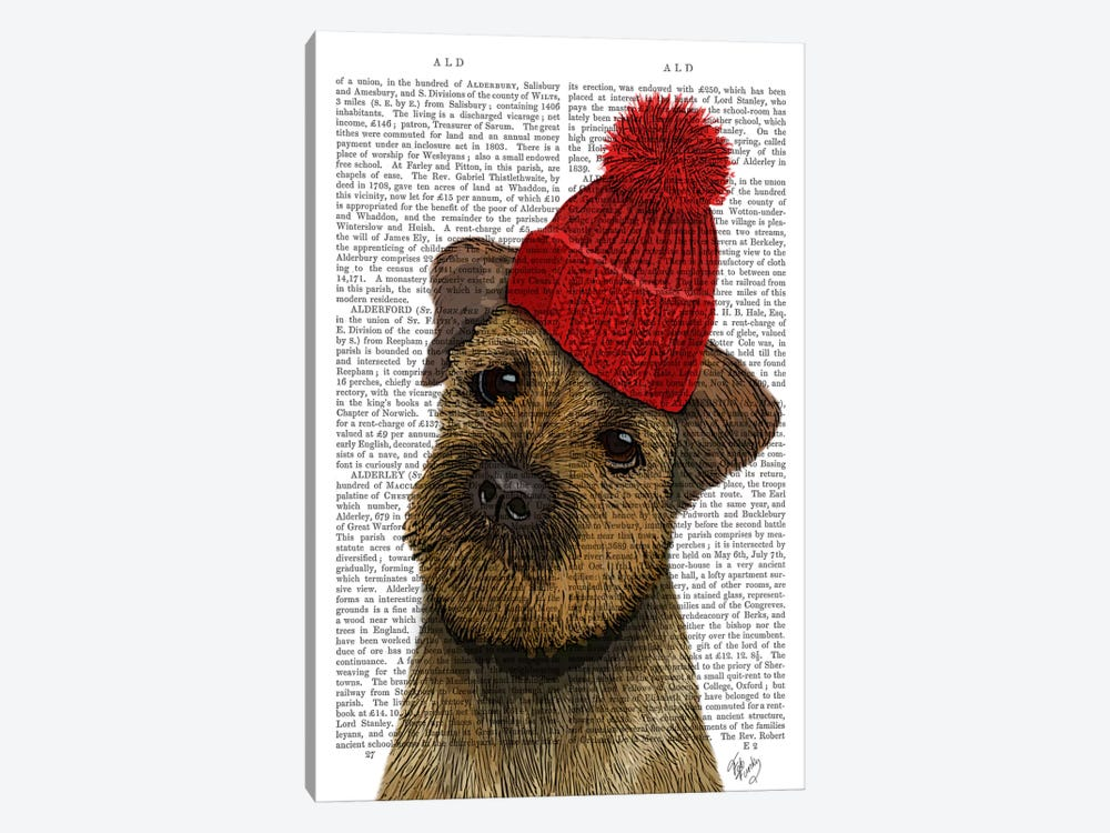 Border Terrier With Red Bobble Hat by Fab Funky 1-piece Canvas Art Print