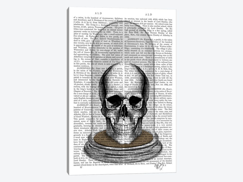 Skull In Bell Jar by Fab Funky 1-piece Canvas Art Print