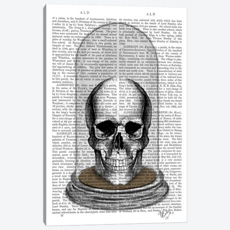 Skull In Bell Jar Canvas Print #FNK92} by Fab Funky Canvas Wall Art