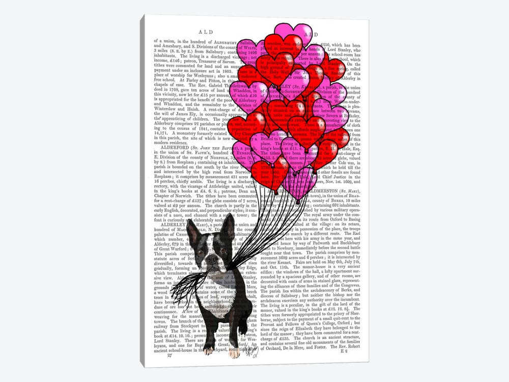 Boston Terrier & Balloons by Fab Funky 1-piece Canvas Print
