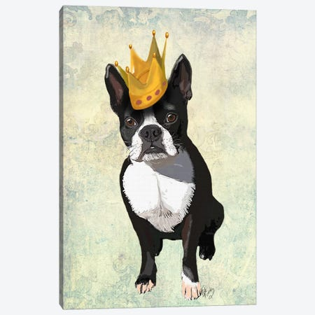 Boston Terrier & Crown Canvas Print #FNK931} by Fab Funky Canvas Wall Art