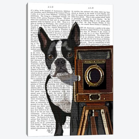 Boston Terrier Photographer Canvas Print #FNK935} by Fab Funky Art Print