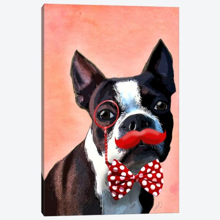 Boston Terrier Portrait With Red Bow Tie & Moustache Canvas Print #FNK936} by Fab Funky Art Print