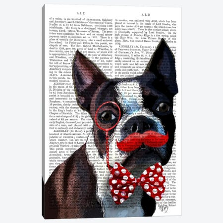 Boston Terrier Portrait With Red Bow Tie & Moustache, Print BG Canvas Print #FNK937} by Fab Funky Canvas Art Print