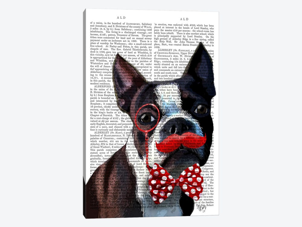 Boston Terrier Portrait With Red Bow Tie & Moustache, Print BG by Fab Funky 1-piece Canvas Artwork