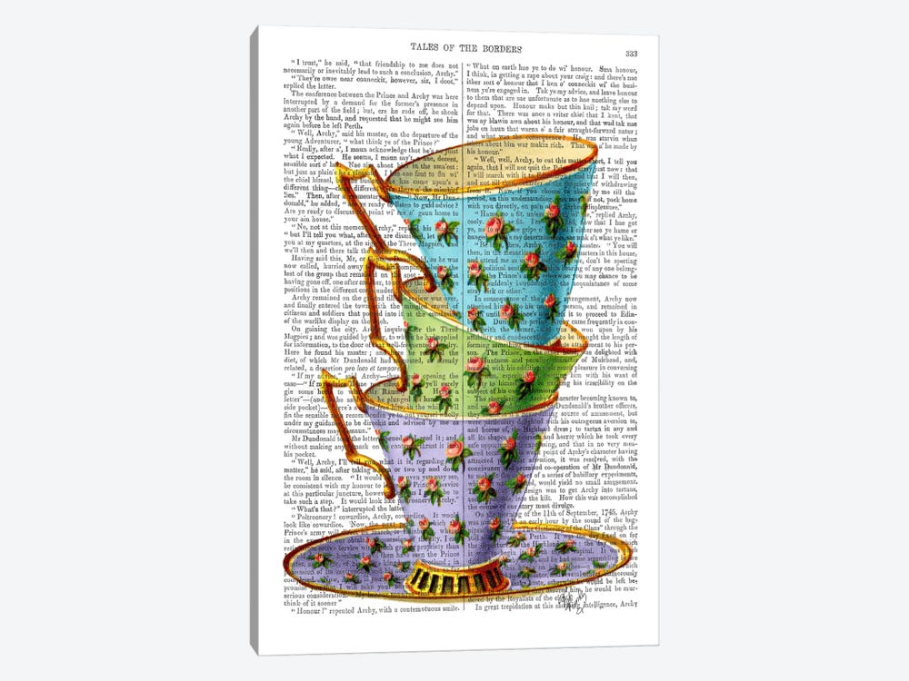 Stack Of Three Vintage Teacups by Fab Funky 1-piece Canvas Wall Art