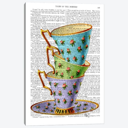 Stack Of Three Vintage Teacups Canvas Print #FNK93} by Fab Funky Canvas Artwork