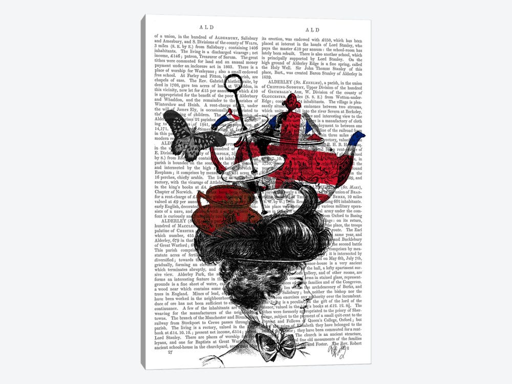 British Afternoon Tea Hat by Fab Funky 1-piece Canvas Print