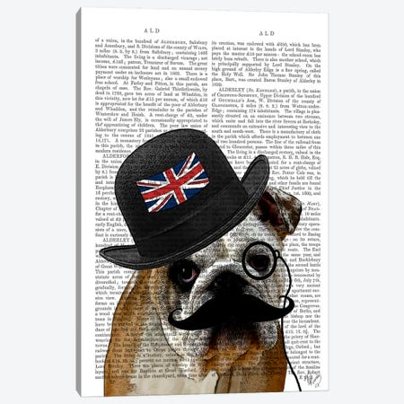 British Bulldog & Bowler Hat Canvas Print #FNK944} by Fab Funky Canvas Wall Art