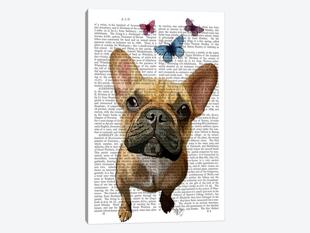 Brown French Bulldog & Butterflies 1-piece Canvas Art Print