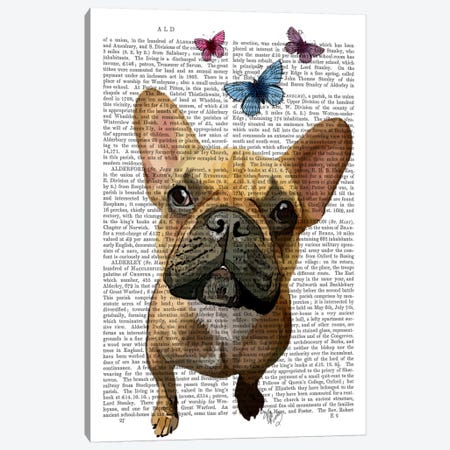 Brown French Bulldog & Butterflies Canvas Print #FNK945} by Fab Funky Canvas Art