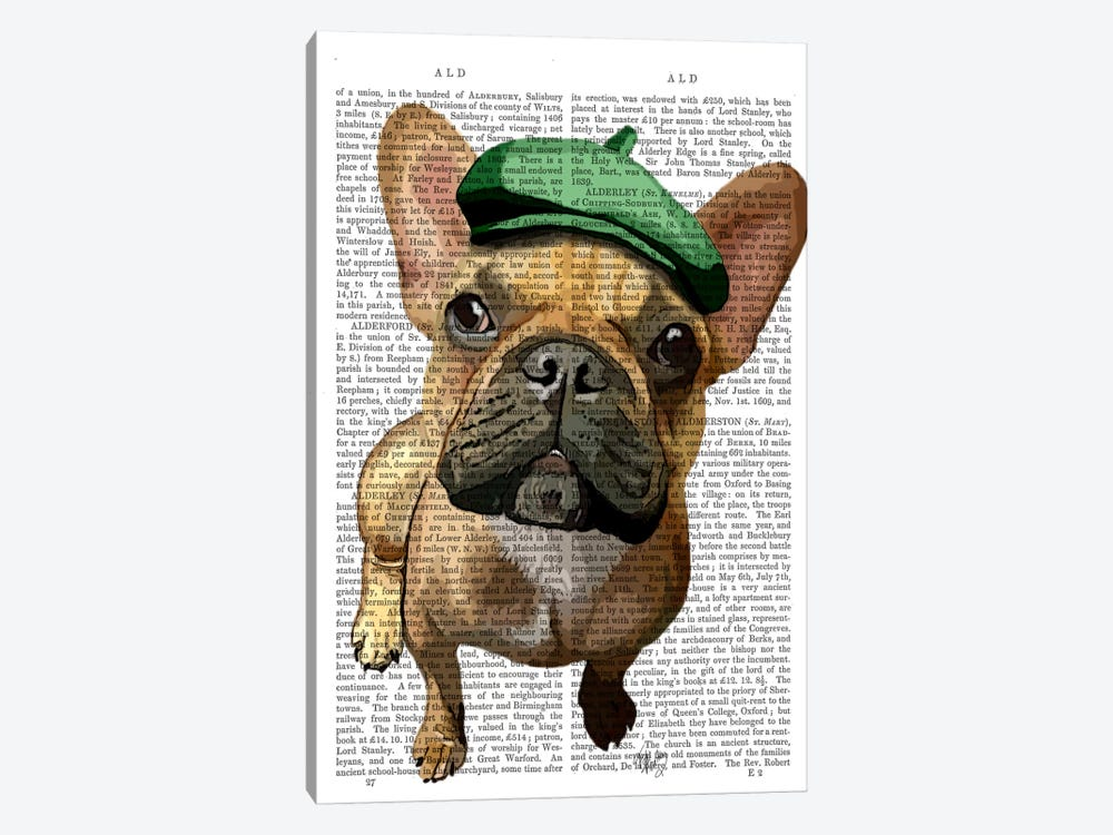 Brown French Bulldog With Green Hat II by Fab Funky 1-piece Canvas Artwork