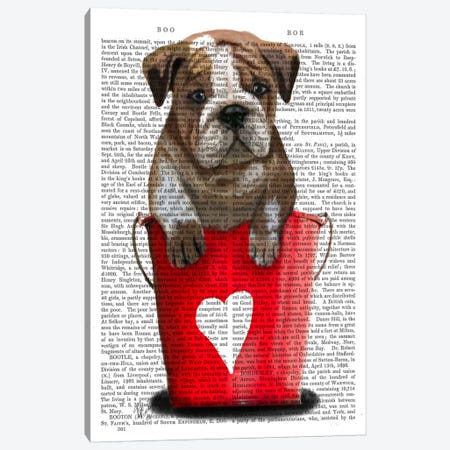 Bulldog Bucket Of Love Canvas Print #FNK947} by Fab Funky Canvas Wall Art