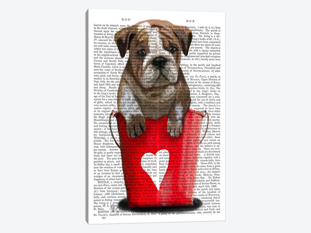 Bulldog Bucket Of Love by Fab Funky 1-piece Canvas Print
