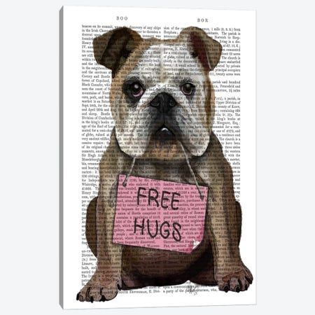 Bulldog Free Hugs Canvas Print #FNK948} by Fab Funky Canvas Art Print