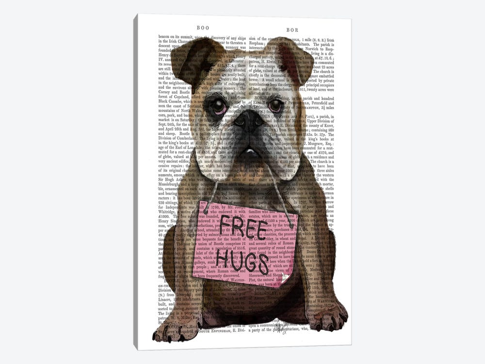 Bulldog Free Hugs by Fab Funky 1-piece Canvas Artwork