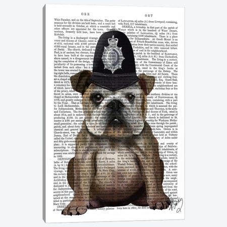 Bulldog Policeman Canvas Print #FNK949} by Fab Funky Canvas Print