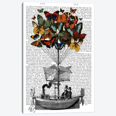 Butterfly Airship I Canvas Print #FNK952} by Fab Funky Canvas Artwork