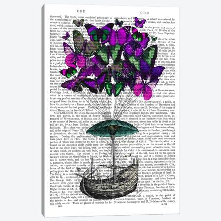 Butterfly Airship II Canvas Print #FNK953} by Fab Funky Canvas Wall Art