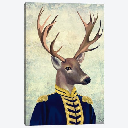 Captain Deer Canvas Print #FNK957} by Fab Funky Canvas Print
