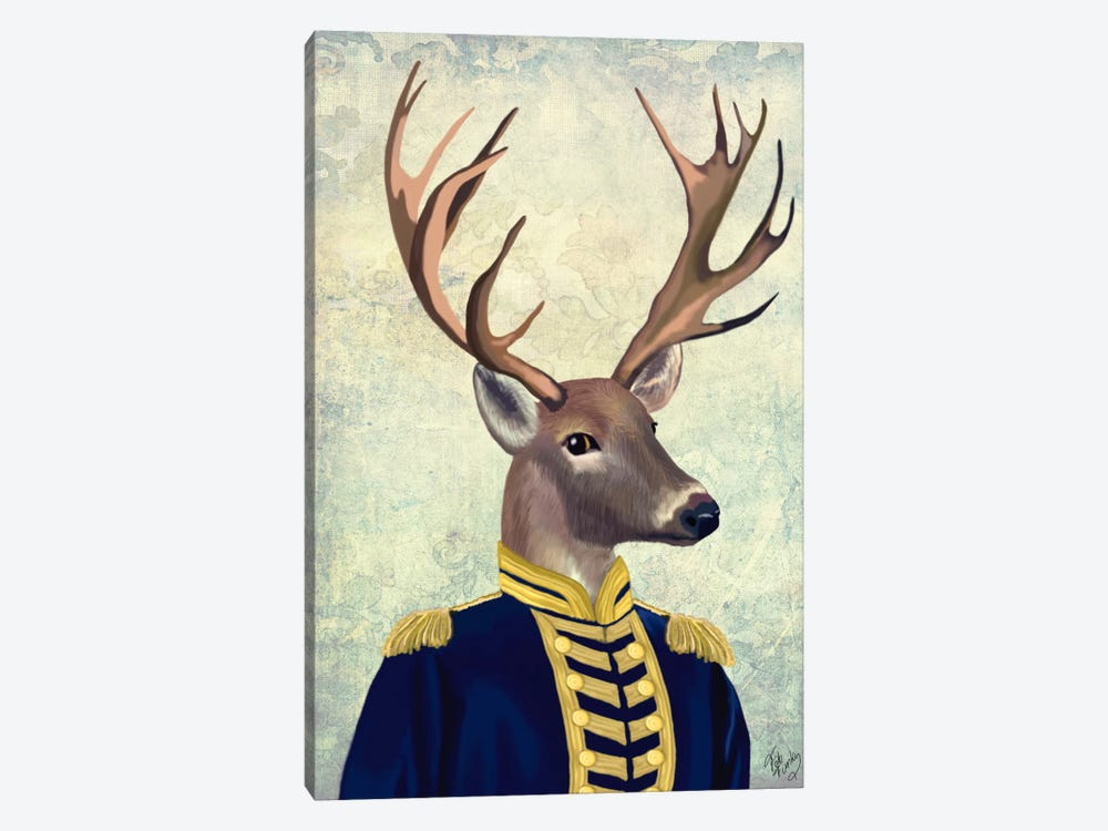 Captain Deer by Fab Funky 1-piece Canvas Artwork